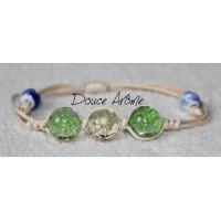 Bracelet Fleurs pressées - Vert & Blanc