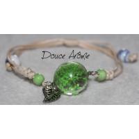 Bracelet Fleur pressée - Vert