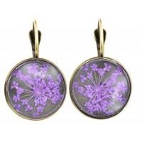 Boucles d'oreilles Fleurs pressées - Violet