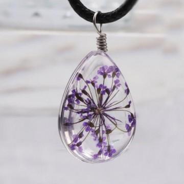 Pendentif Fleur pressée - Violet
