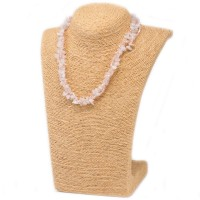 Colliers en Eclats de pierre de Quartz rose