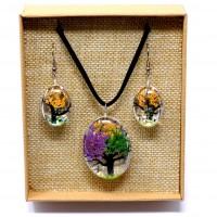 Parure Fleurs pressées - Arbre de Vie Multicolore