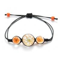 Bracelet Fleurs pressées - Orange