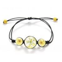 Bracelet Fleurs pressées - Jaune