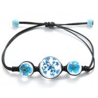Bracelet Fleurs pressées - Bleu
