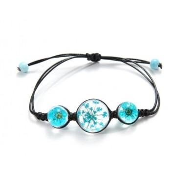 Bracelet Fleurs pressées - Turquoise