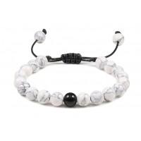 Bracelet de Howlite et Agate noire.