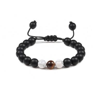 Bracelet d'Agate noire, Howlite et Oeil du Tigre