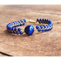 Bracelet tressé d'Oeil du Tigre Bleu