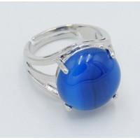 Bague d'Agate bleue rayée