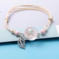Bracelet Fleur pressée - Rose